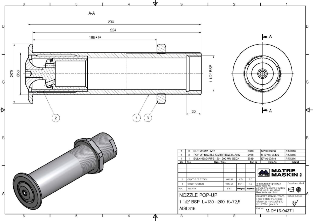 technical Specifications Pop-up Nozzle