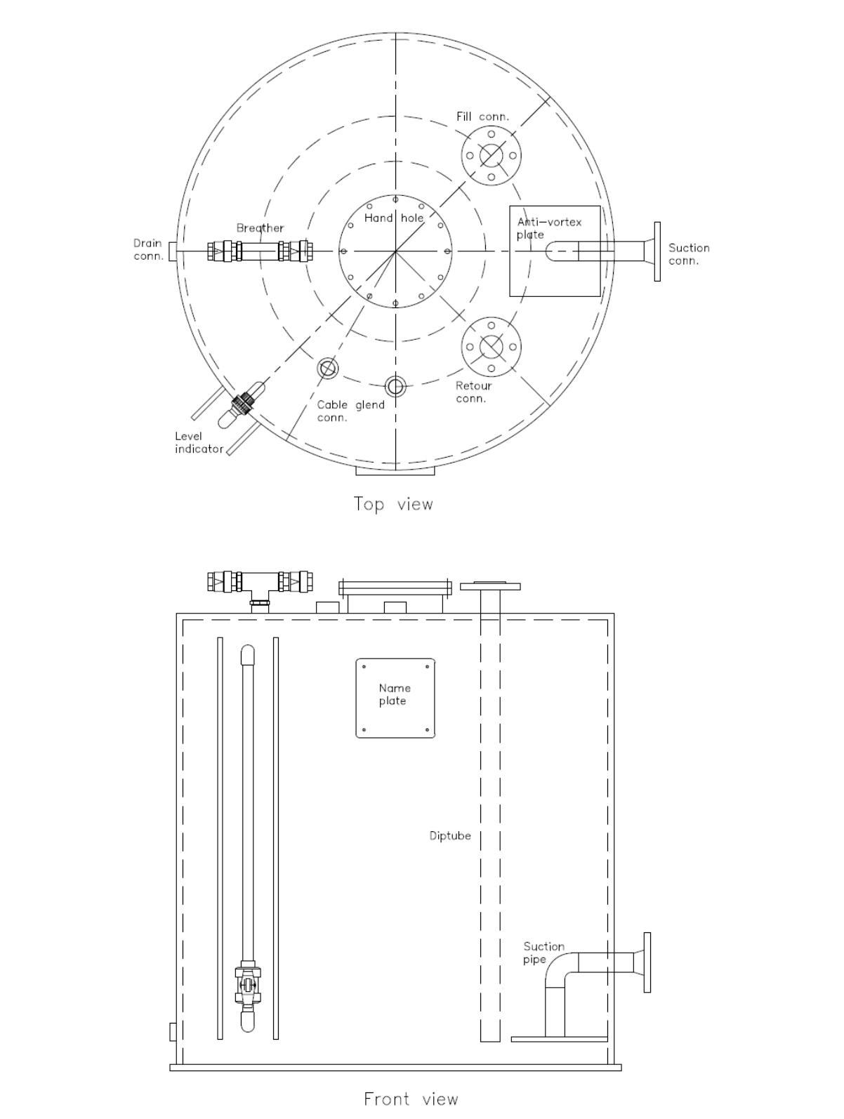 Technische specificatie atmosferische tank
