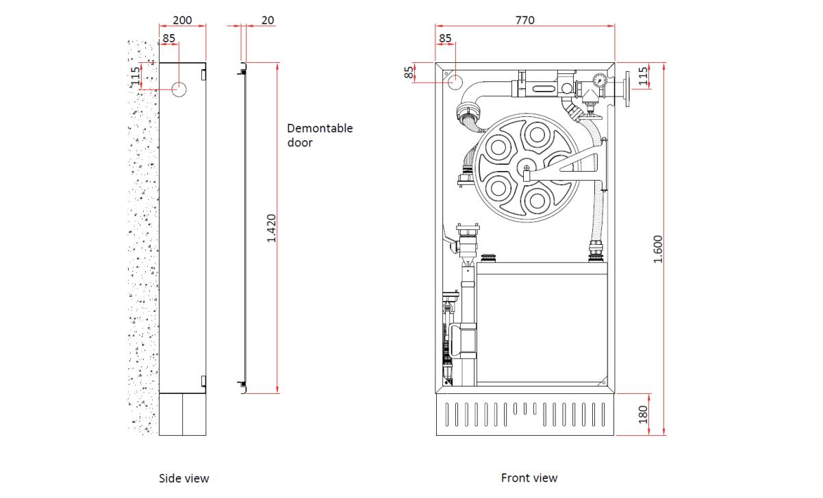 Technische specificatie hydrantkast met schuimtank en menger