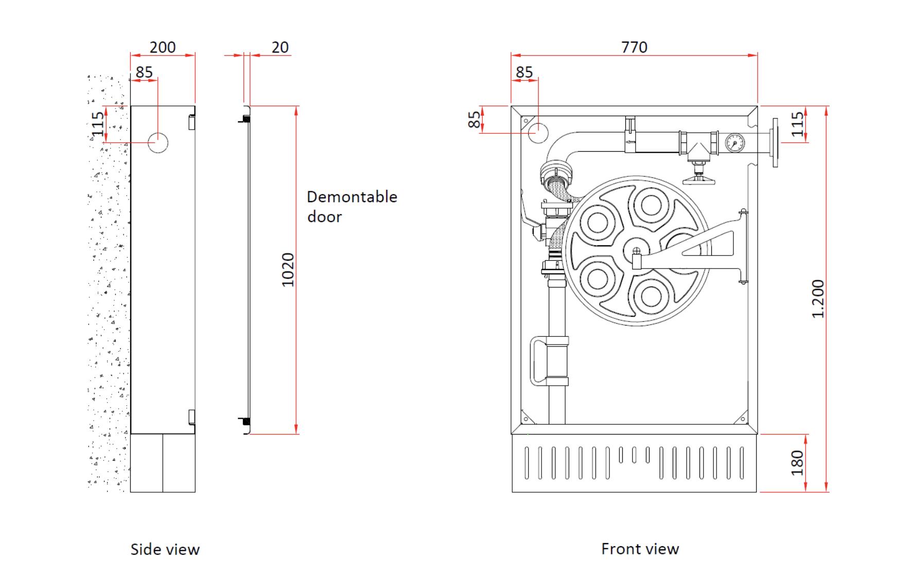 Technische specificatie hydrantkast zonder schuimtank en menger