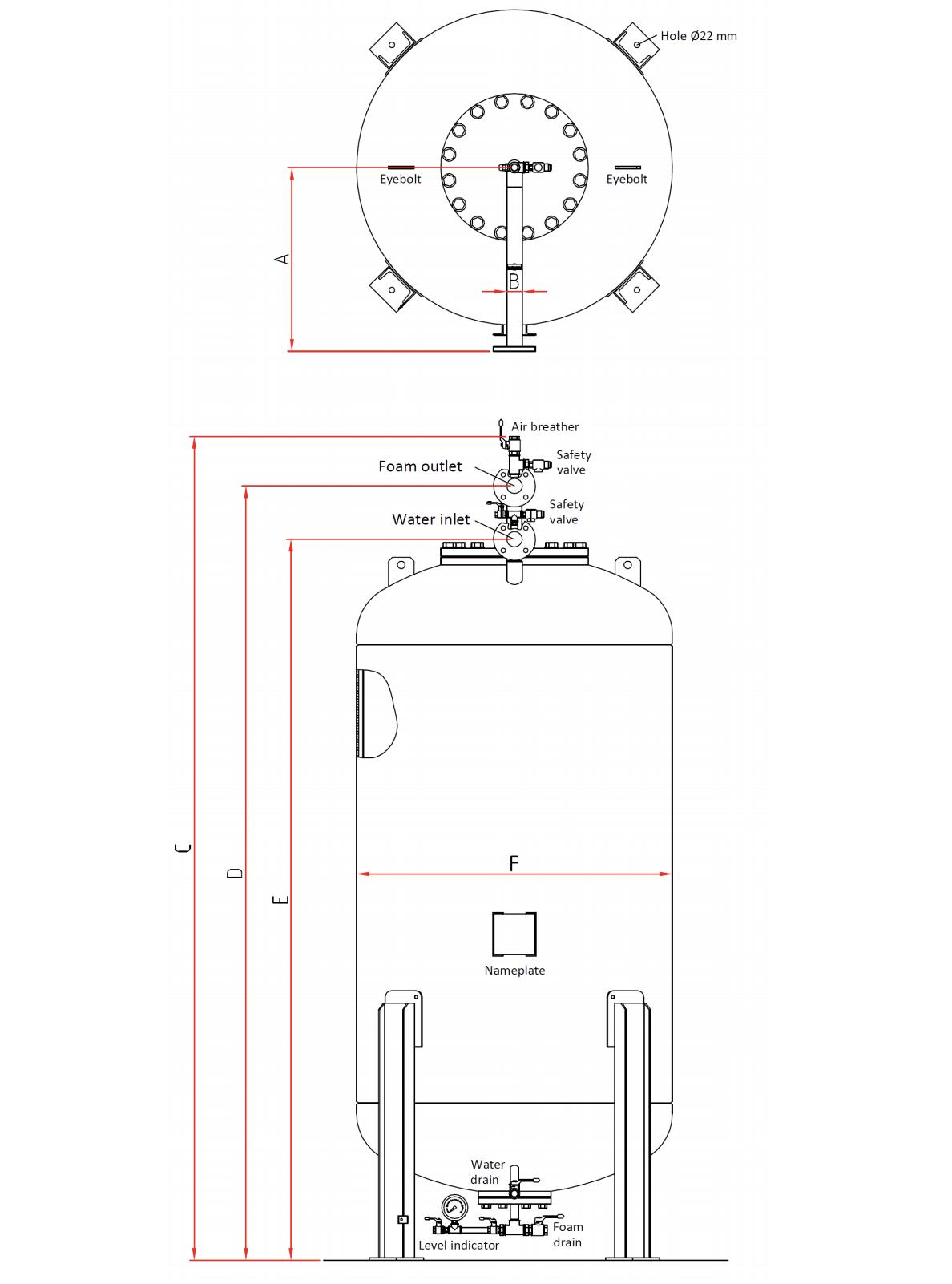 Technische specificatie verticale bladdertank