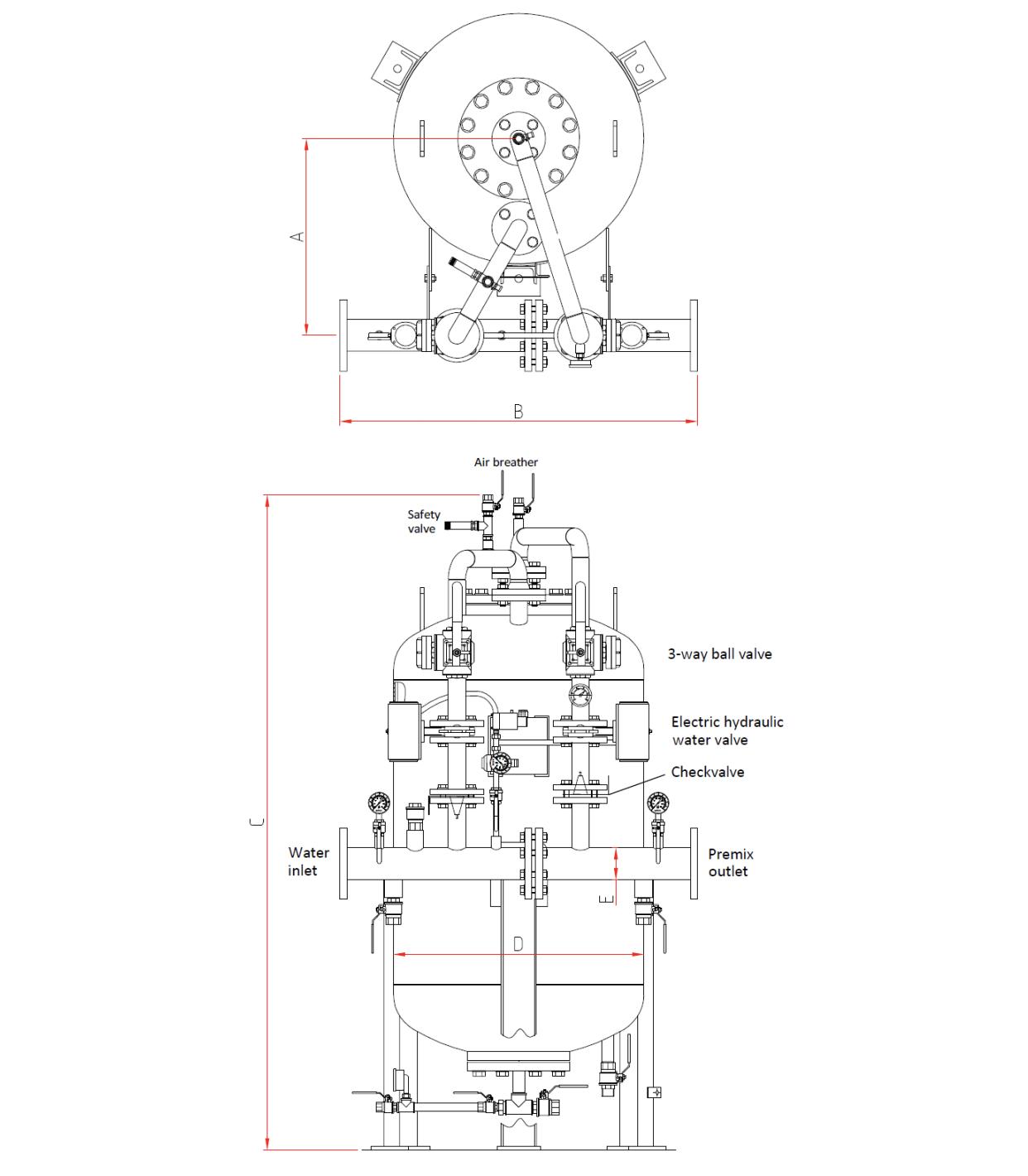 Technische specificatie verticale bladdertank met schuimmenger