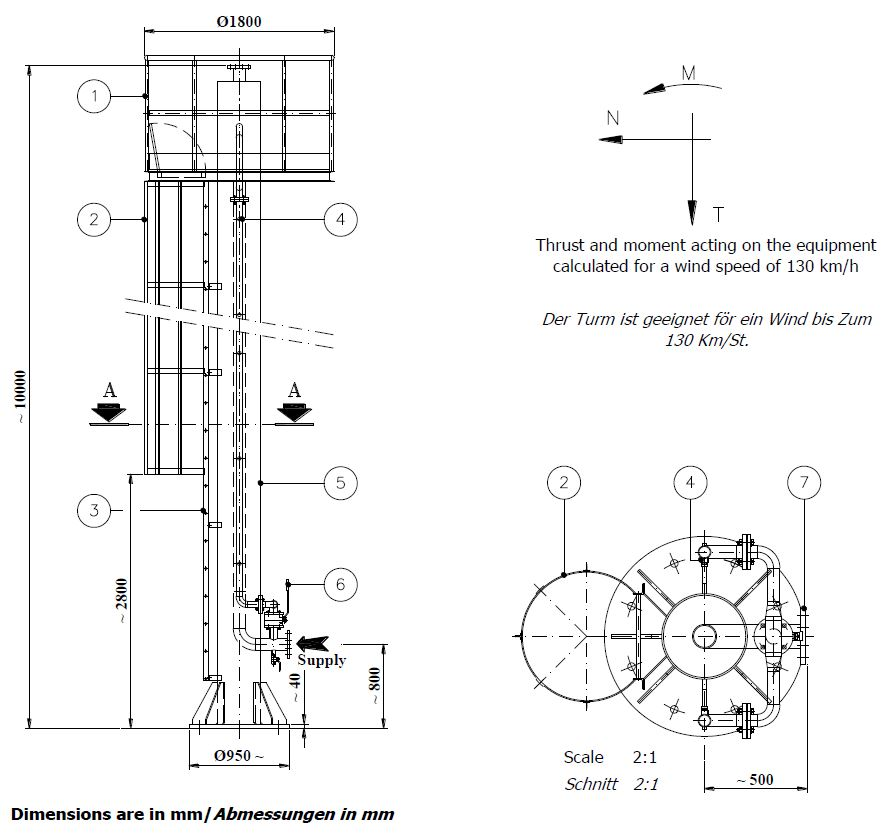 Technical Specifications Fire monitor Tower